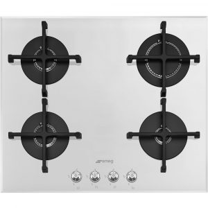 Smeg PV164B2 60cm Linea 4 Burner Gas On Glass Hob – WHITE