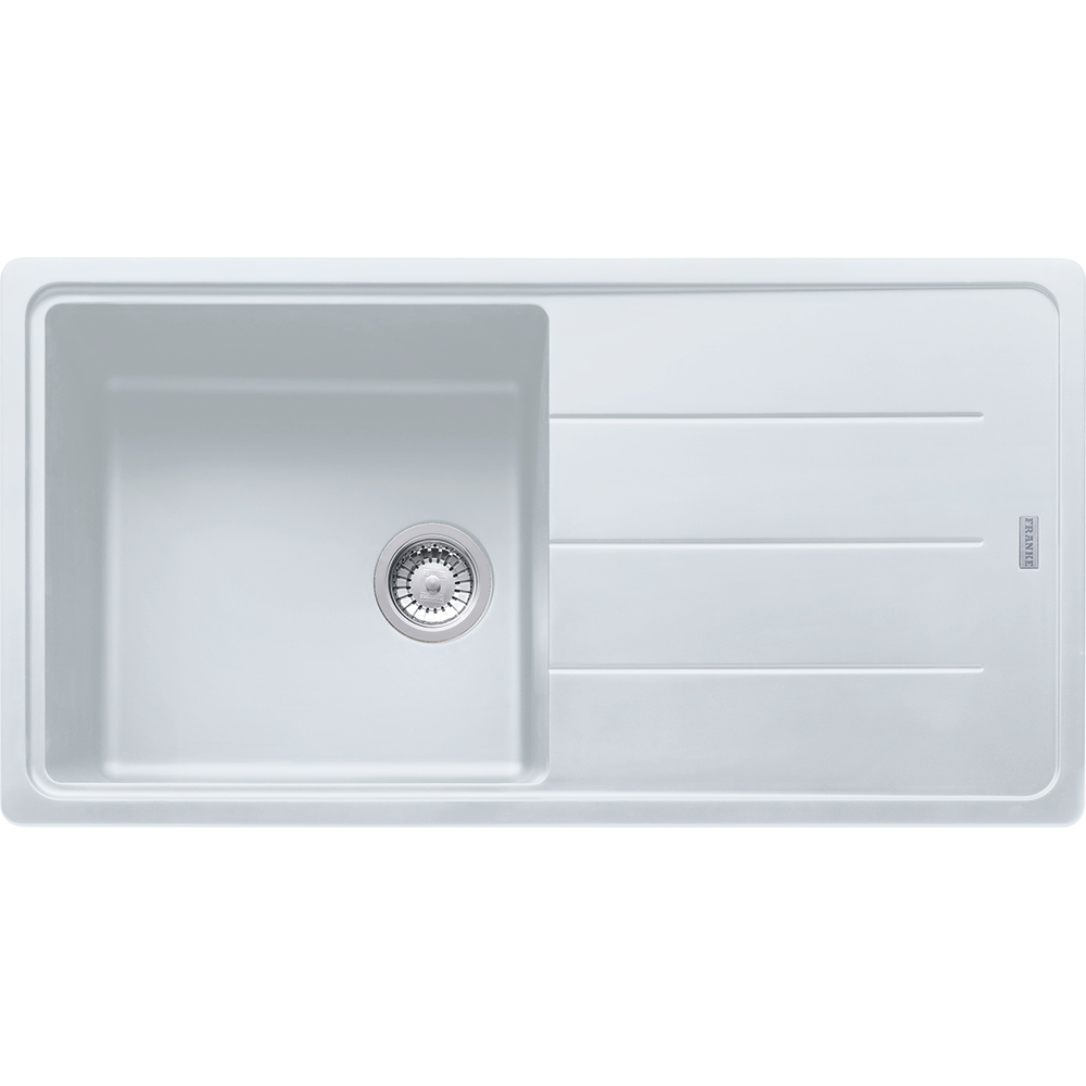 Image of Franke BFG611-970 PW Basis Fragranite Single Bowl Sink - WHITE