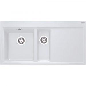 Franke MTG651-100 RHD PW Mythos Fragranite Sink 1.5 Bowl Right Hand Drainer – WHITE