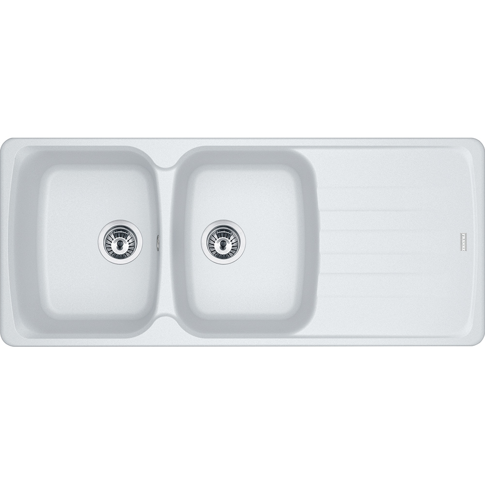 Image of Franke AZG621 PW Antea Fragranite Double Bowl Sink - WHITE