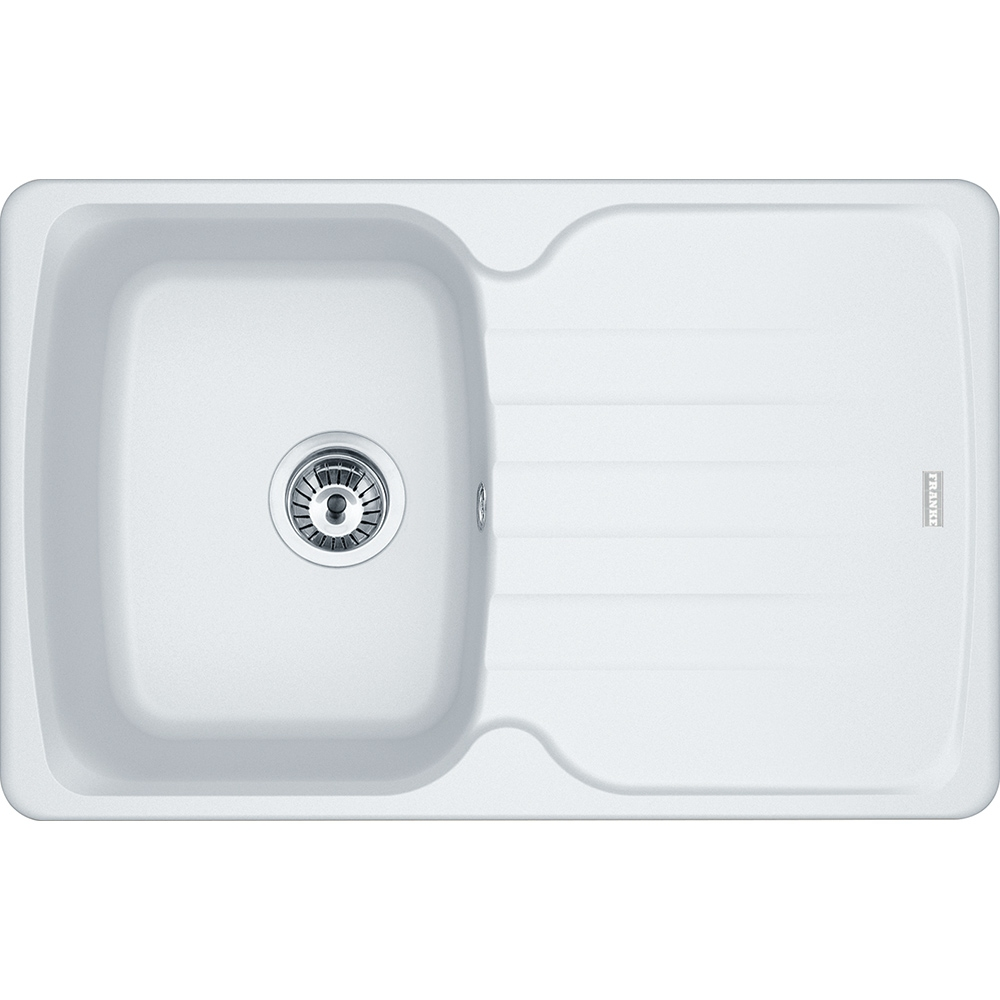 Image of Franke AZG611-78 PW Antea Fragranite Single Bowl Sink - WHITE