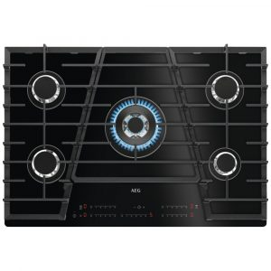 AEG HVB75450IB 75cm 5 Burner Gas On Glass Hob – BLACK