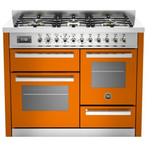 Bertazzoni PRO110-6-MFE-T-ART 110cm Professional XG Dual Fuel Range Cooker – ORANGE