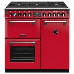 Stoves RICHMOND DX S900DFGTGCBHJA Richmond 900mm Gas On Glass Dual Fuel Cooker – RED