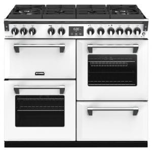 Stoves RICHMOND DX S1000DFGTGCBIBR Richmond 1000mm Gas On Glass Dual Fuel Cooker – WHITE