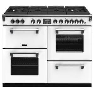 Stoves RICHMOND DX S1100DFGTGCBIBR Richmond 1100mm Gas On Glass Dual Fuel Cooker – WHITE