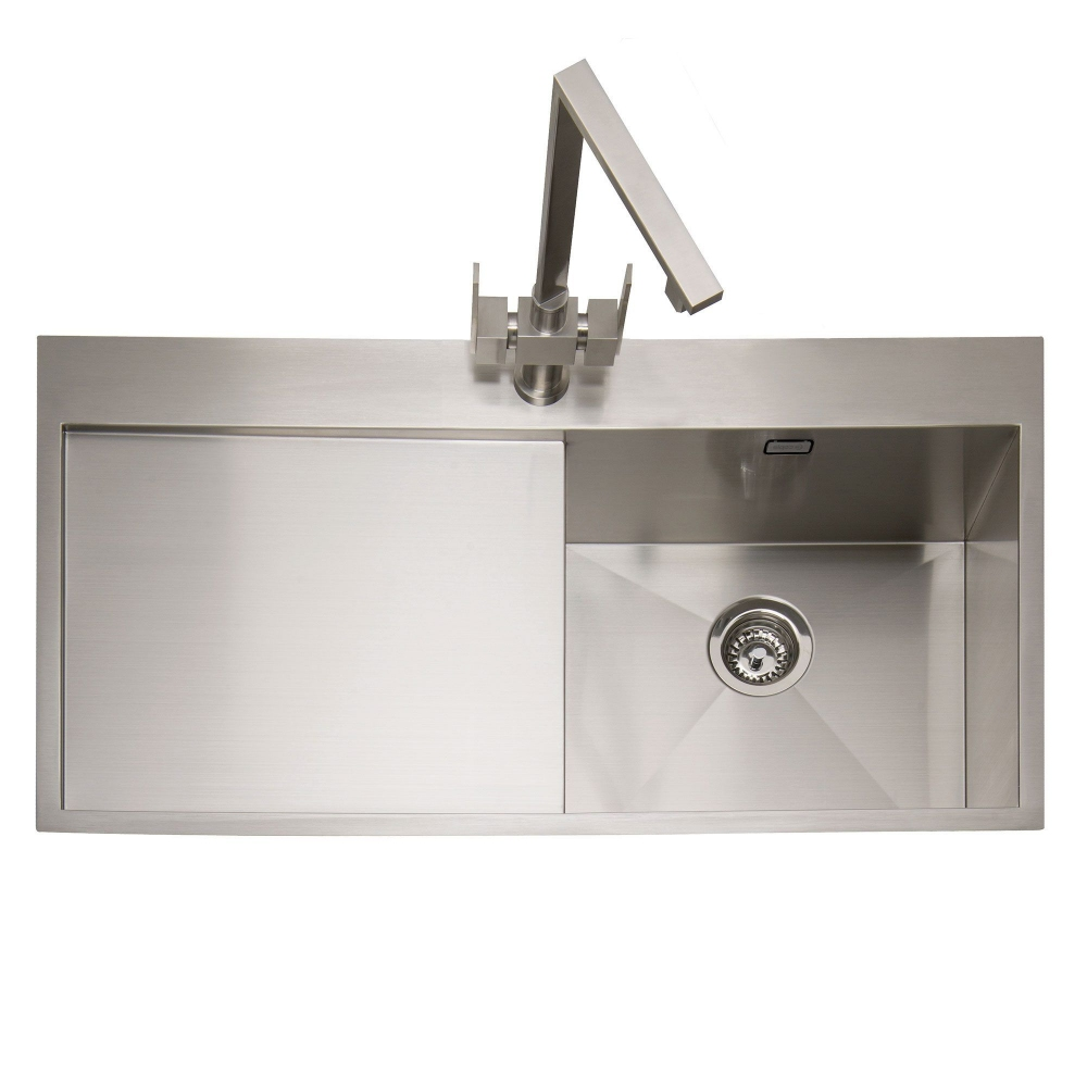 Image of Caple CU100/L Cubit 100 Single Bowl Inset Sink Left Hand Drainer - STAINLESS STEEL