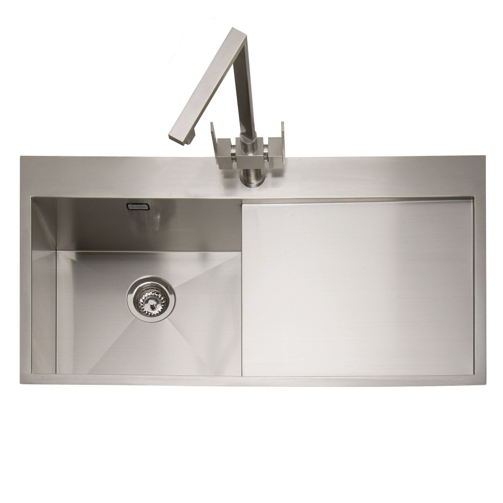 Image of Caple CU100/R Cubit 100 Single Bowl Inset Sink Right Hand Drainer - STAINLESS STEEL