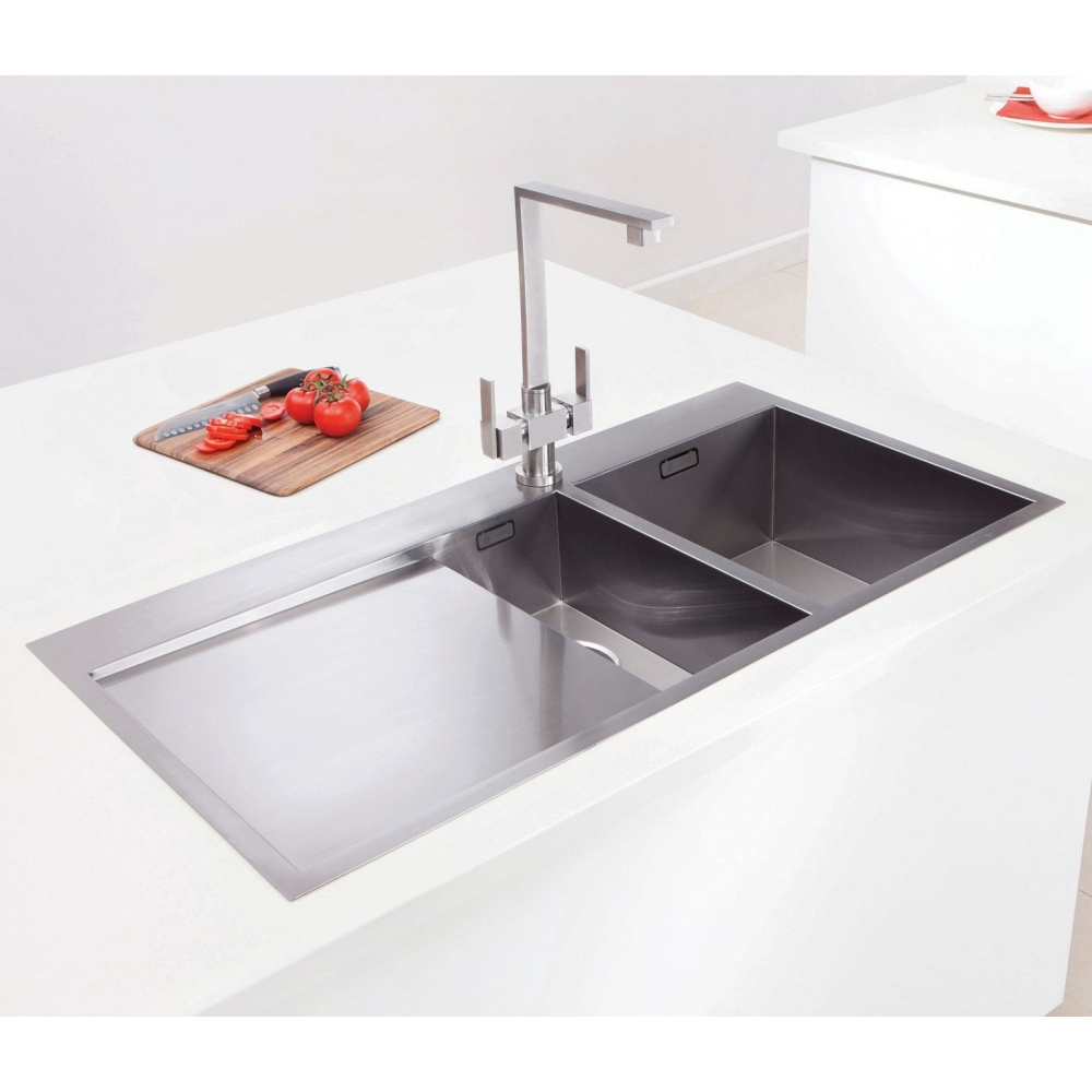 Image of Caple CU150/L Cubit 150 1.5 Bowl Inset Sink Left Hand Drainer - STAINLESS STEEL