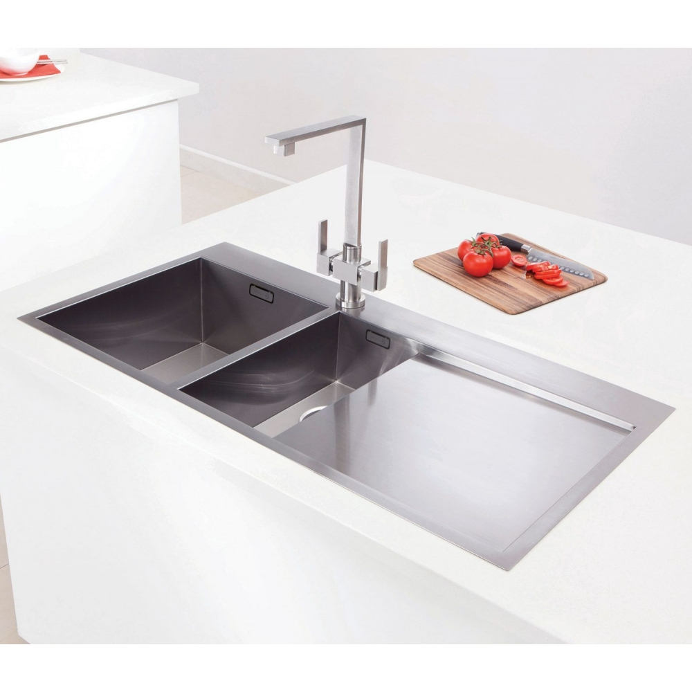 Image of Caple CU150/R Cubit 150 1.5 Bowl Inset Sink Right Hand Drainer - STAINLESS STEEL