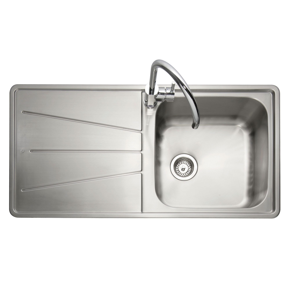 Image of Caple BZ100/L Blaze 100 Single Bowl Inset Sink Left Hand Drainer - STAINLESS STEEL