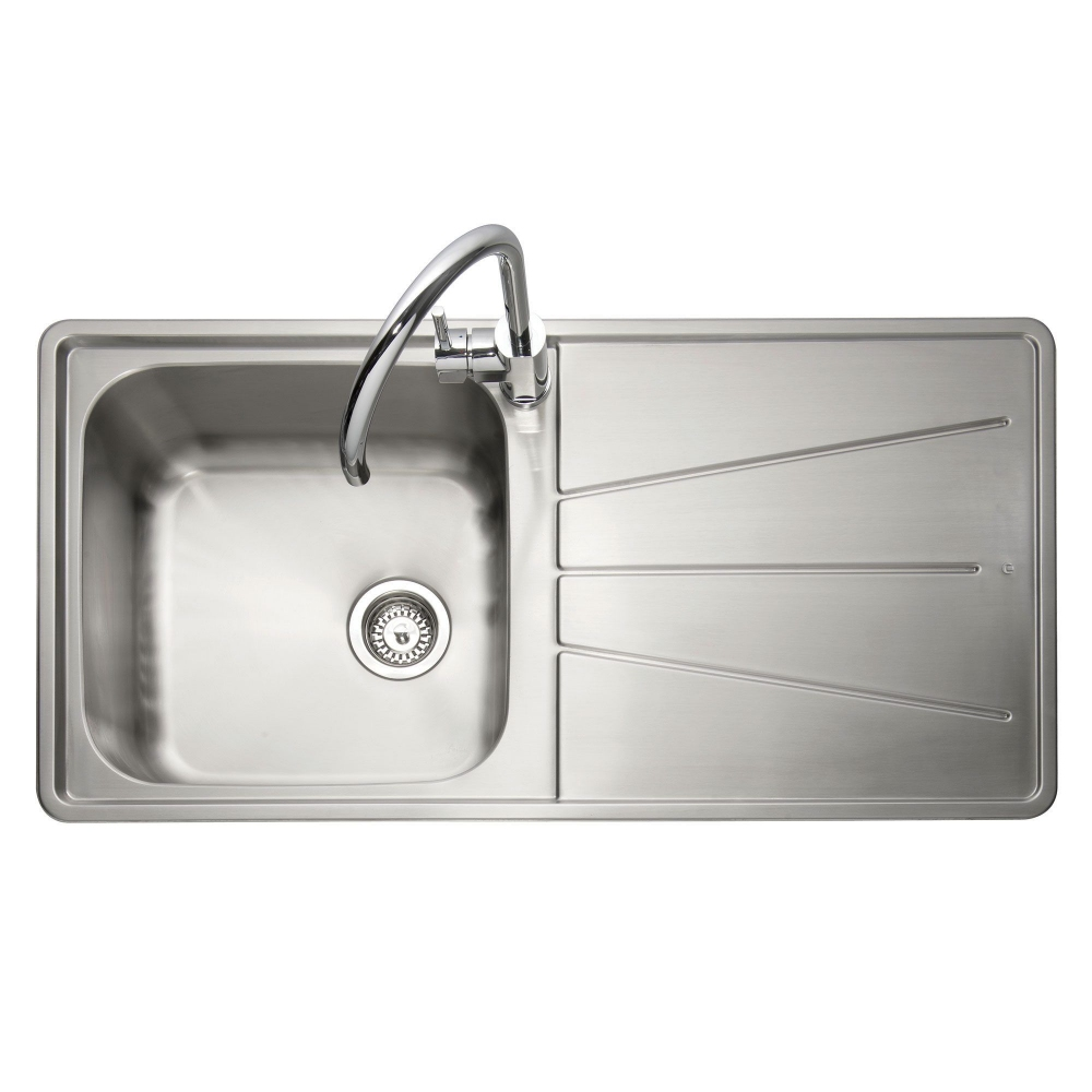 Image of Caple BZ100/R Blaze 100 Single Bowl Inset Sink Right Hand Drainer - STAINLESS STEEL