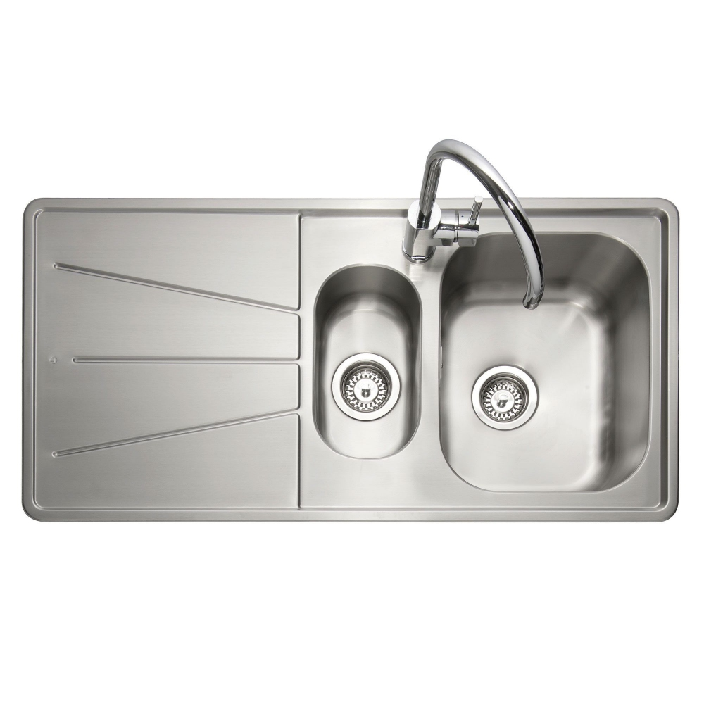Image of Caple BZ150/L Blaze 100 1.5 Bowl Inset Sink Left Hand Drainer - STAINLESS STEEL