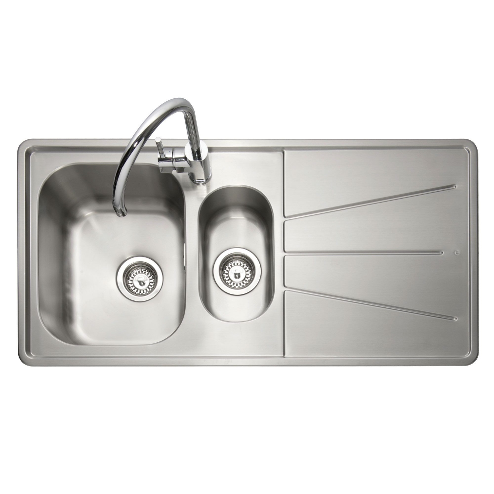 Image of Caple BZ150/R Blaze 100 1.5 Bowl Inset Sink Right Hand Drainer - STAINLESS STEEL