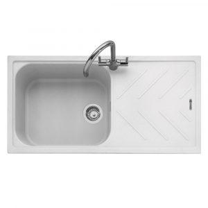 Caple VEI100CW Veis 100 Single Bowl Inset Sink Reversible Drainer – WHITE