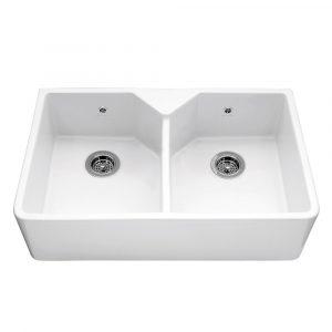 Caple CHEPSTOW Chepstow 80cm Double Bowl Ceramic Sink – WHITE