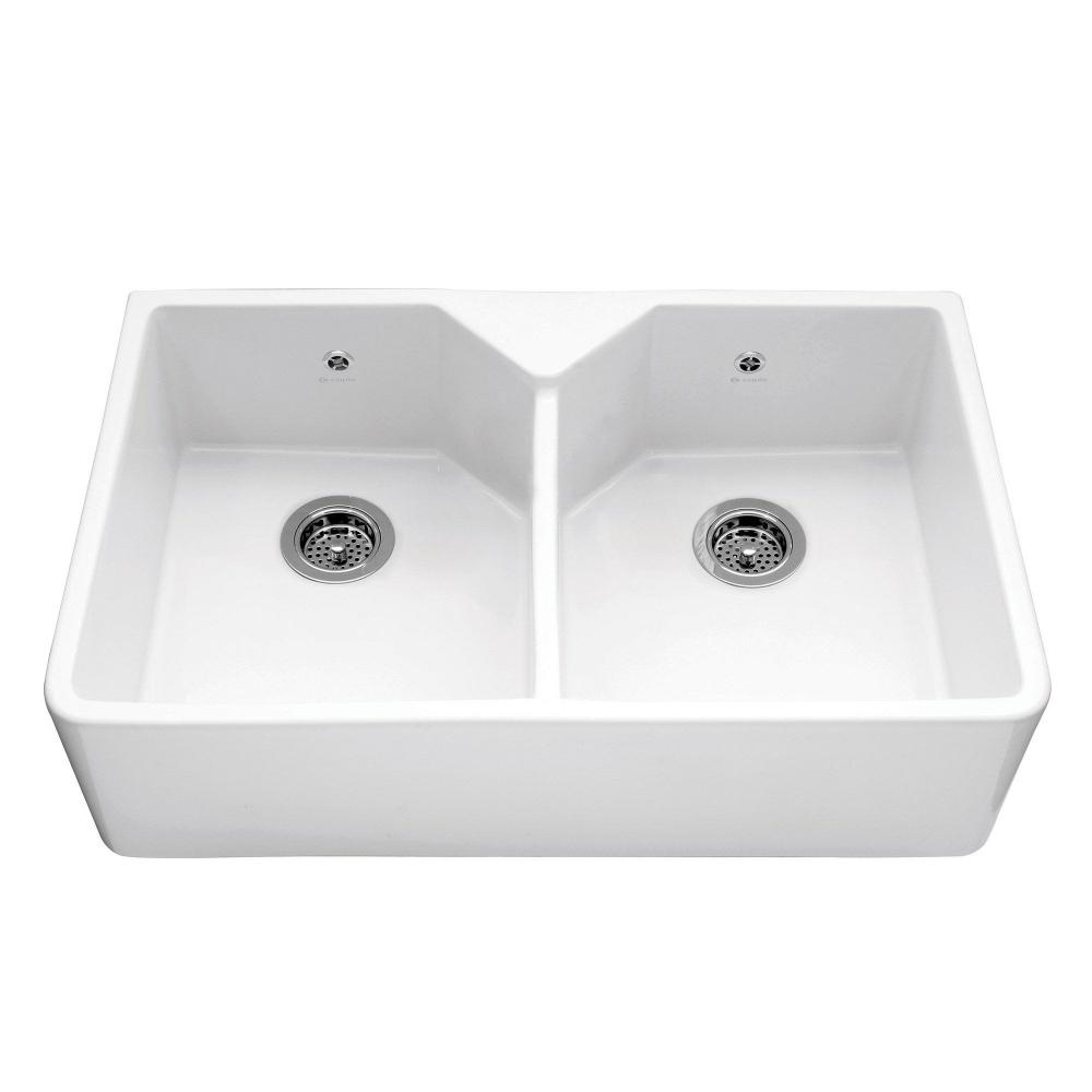Image of Caple CHEPSTOW Chepstow 80cm Double Bowl Ceramic Sink - WHITE