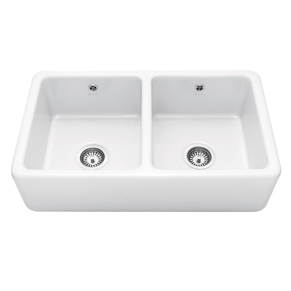 Image of Caple KEMPTON Kempton 80cm Double Bowl Ceramic Sink - WHITE