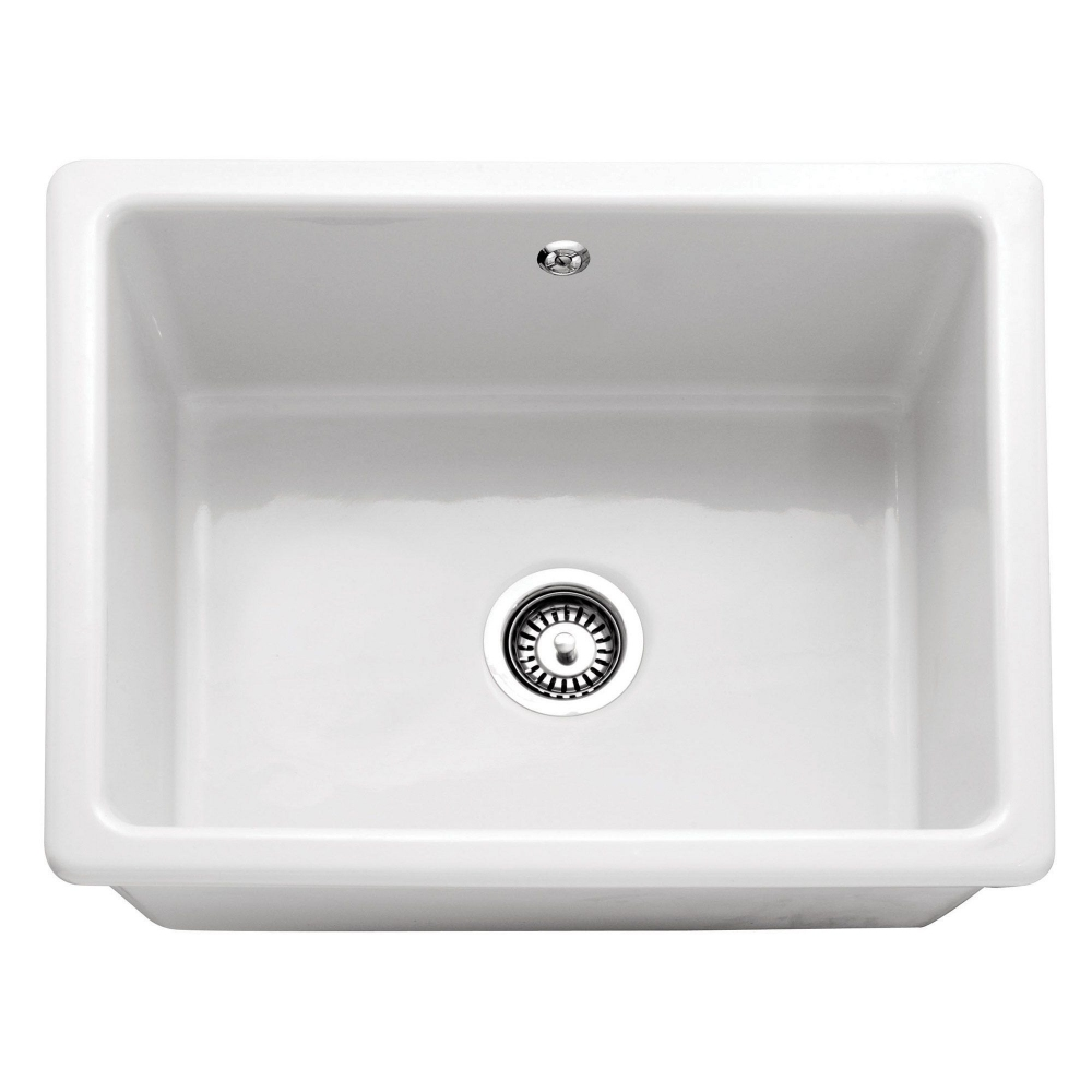 Image of Caple CPCIB2 Cheshire 60cm Single Bowl Ceramic Inset Sink - WHITE