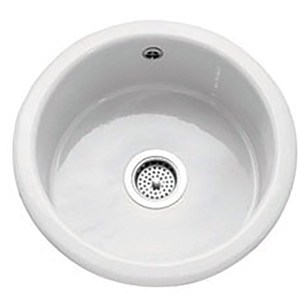 Image of Caple CPWIB2 Warwickshire 46cm Single Bowl Ceramic Sink - WHITE
