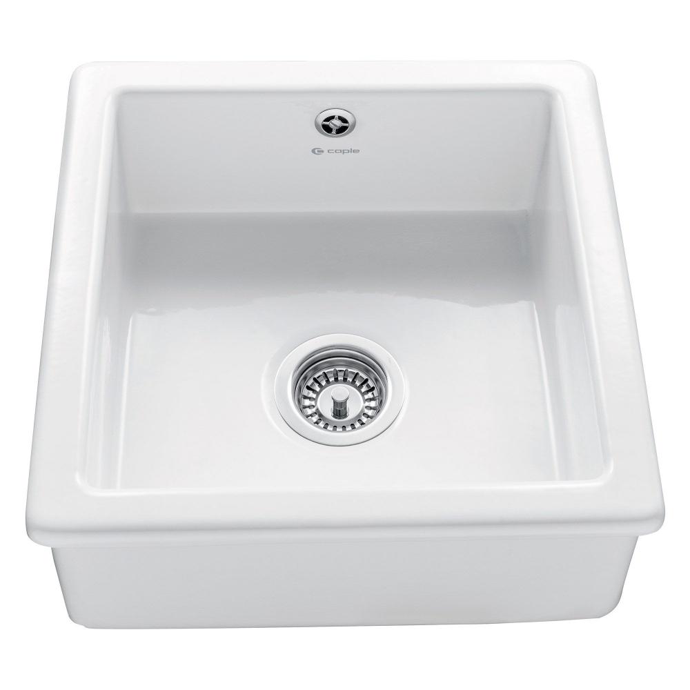 Image of Caple CSQB Square Bowl 46cm Single Bowl Ceramic Sink - WHITE