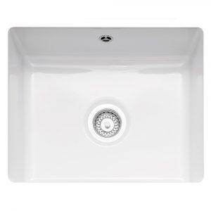 Caple ETT600U Ettra 55cm Single Bowl Ceramic Undermount Sink – WHITE