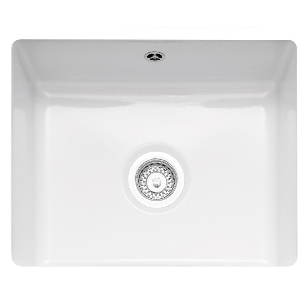Image of Caple ETT600U Ettra 55cm Single Bowl Ceramic Undermount Sink - WHITE