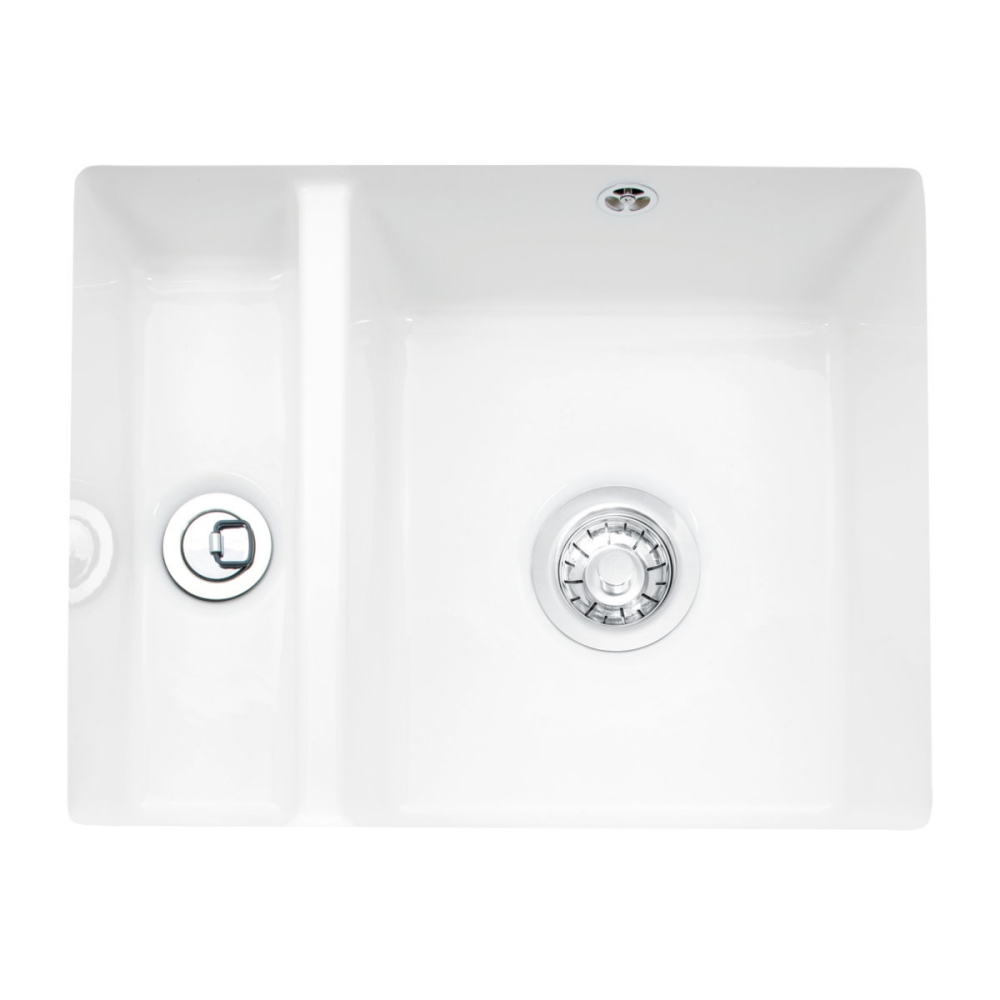 Image of Caple FRI150U Friska 1.5 Bowl Ceramic Undermount Sink - WHITE