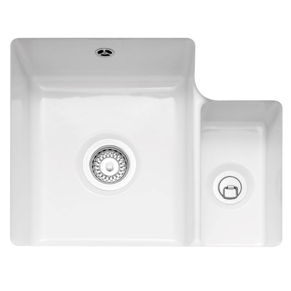 Image of Caple ETT150U Ettra 1.5 Bowl Ceramic Undermount Sink - WHITE