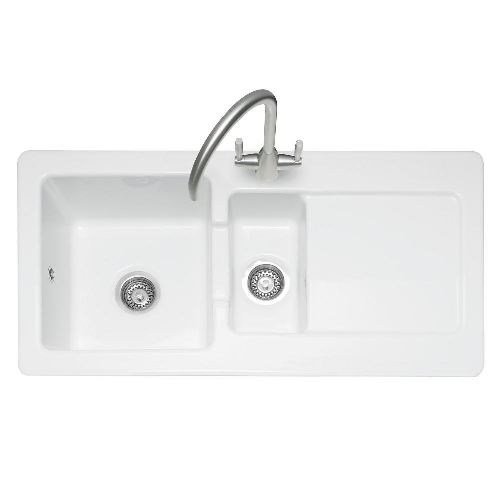 Image of Caple FOX150 Foxboro 150 1.5 Bowl Inset Sink Reversible Drainer - WHITE