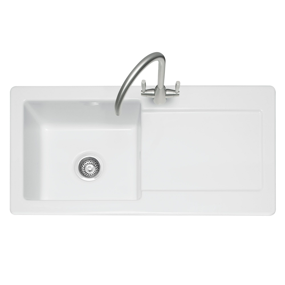 Image of Caple FOX100 Foxboro 100 Single Bowl Inset Sink Reversible Drainer - WHITE