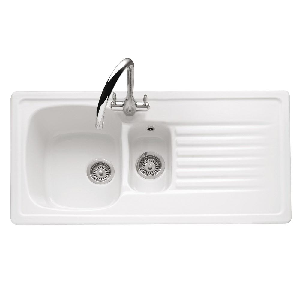 Image of Caple ASH15W Ashford 150 1.5 Bowl Inset Sink Reversible Drainer - WHITE
