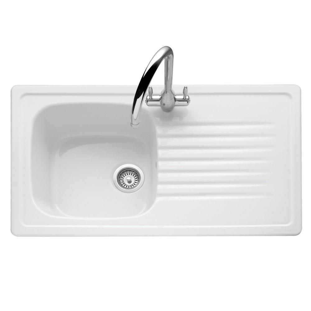 Image of Caple ASH1W Ashford 100 Single Bowl Inset Sink Reversible Drainer - WHITE