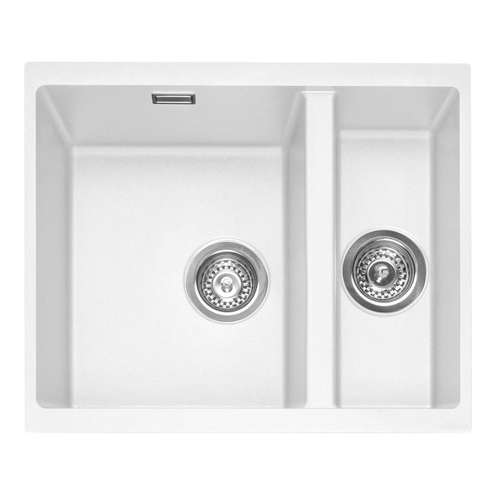 Image of Caple LEE150UCW Leesti 150 1.5 Bowl Sink Right Hand Small Bowl - WHITE