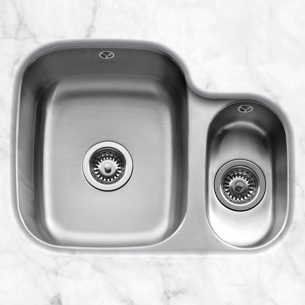 Image of Caple FORM150R Form 150 1.5 Bowl Undermount Sink Right Hand Small Bowl - STAINLESS STEEL