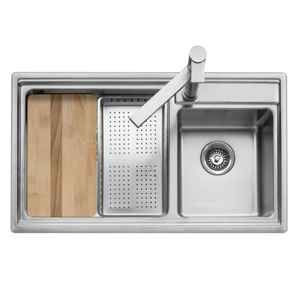 Image of Caple AXL175 Axle 175 1.5 Bowl Inset Sink Right Hand Small Bowl - STAINLESS STEEL