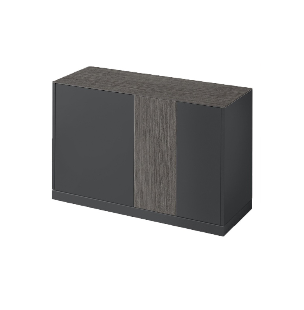 LINEA 125 SMALL SIDEBOARD, DARK GREY MATT LACQUERED BODY WITH DARK GREY OBSIDIAN TOP AND DOOR -0