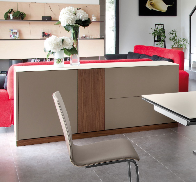 LINEA 185 LARGE SIDEBOARD, WHITE MATT LACQUERED BODY WITH WALNUT DOOR AND PLINTH -31696