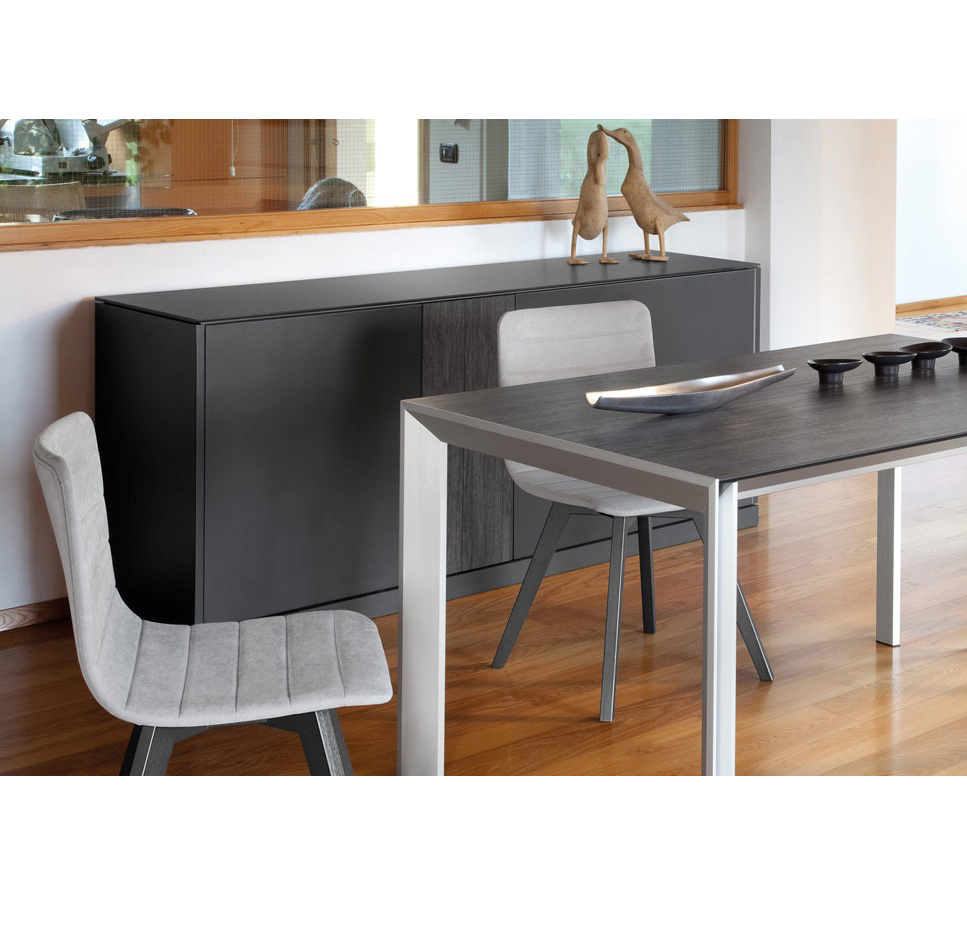LINEA 185 LARGE SIDEBOARD, DARK GREY MATT LACQUERED BODY WITH DARK GREY OBSIDIAN TOP AND DOOR -31723
