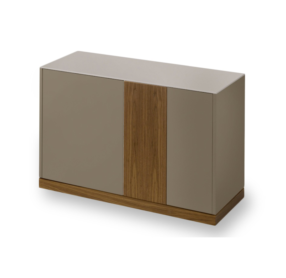 LINEA 125 SMALL SIDEBOARD, TAUPE MATT LACQUERED BODY WITH WALNUT DOOR AND PLINTH -0