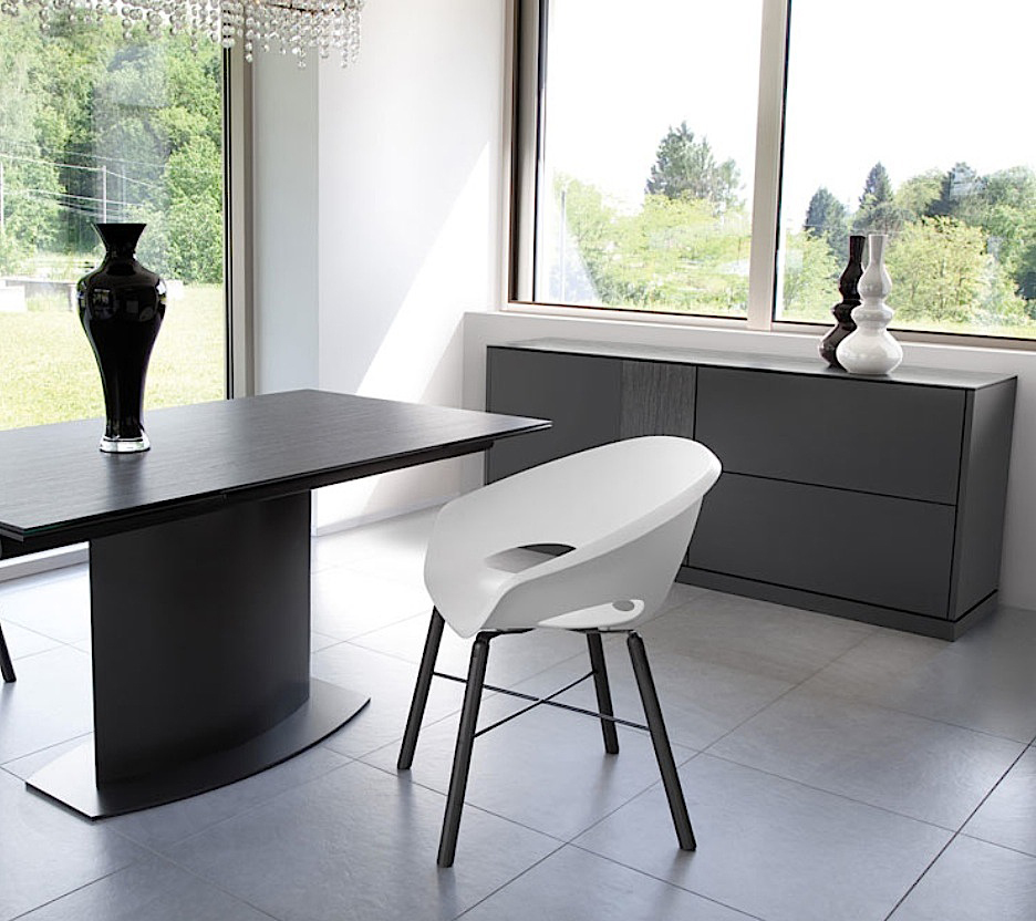 LINEA 185 LARGE SIDEBOARD, DARK GREY MATT LACQUERED BODY WITH DARK GREY OBSIDIAN TOP AND DOOR -31727