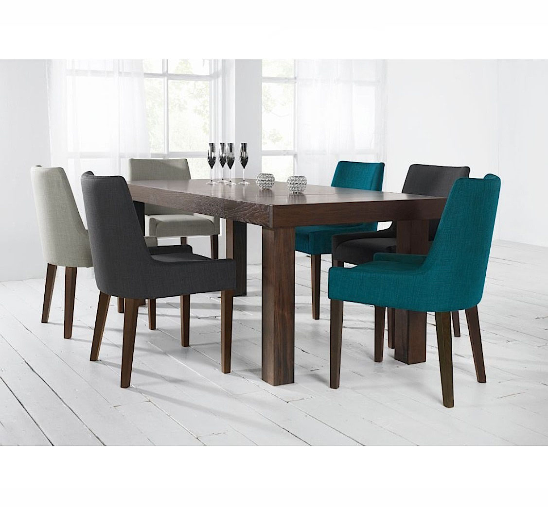 ALEX TEAL UPHOLSTERED DINING CHAIR WITH WALNUT LEGS -31610