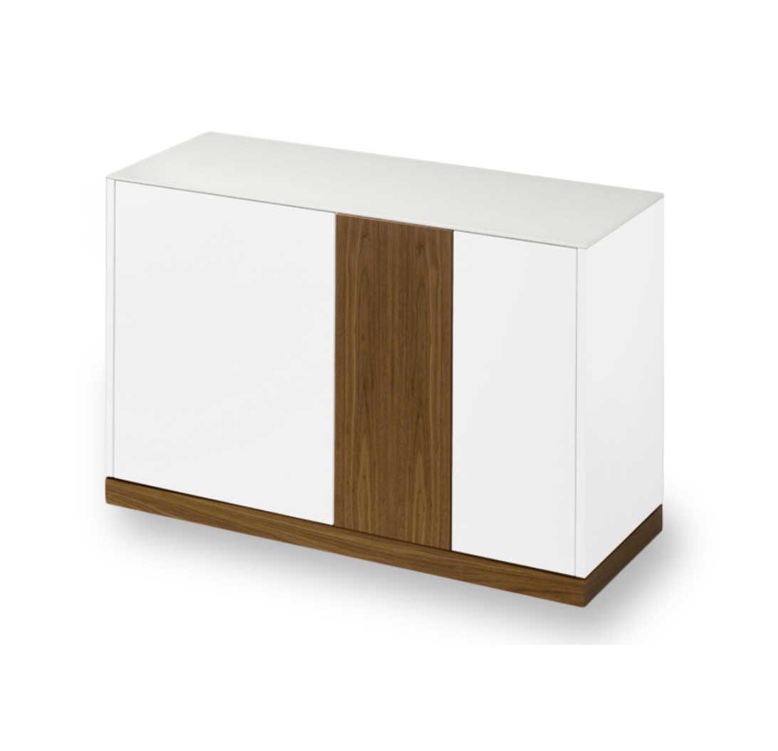 LINEA 125 SMALL SIDEBOARD, WHITE MATT LACQUERED BODY WITH WALNUT DOOR AND PLINTH -0