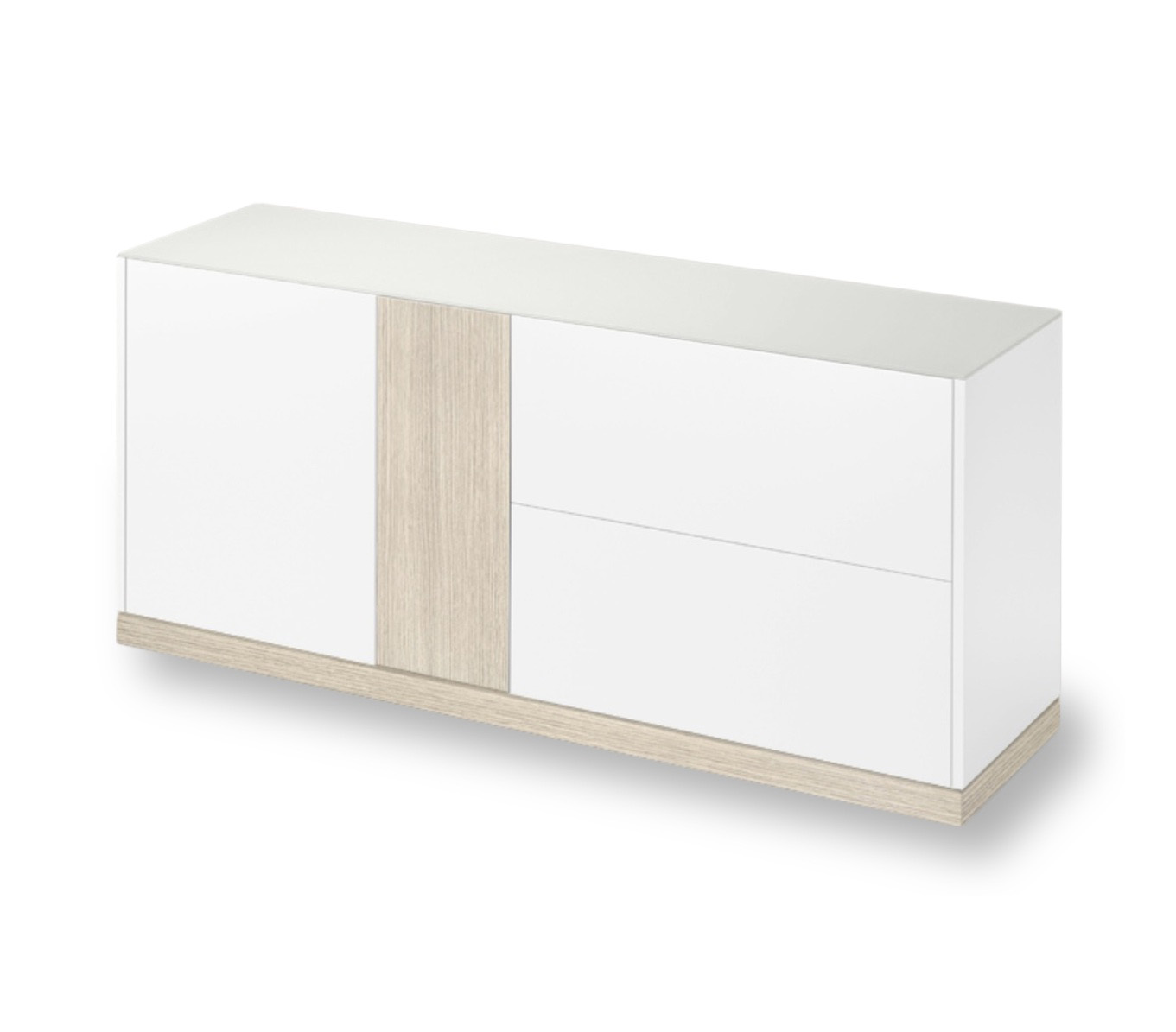 LINEA 185 LARGE SIDEBOARD, WHITE MATT LACQUERED BODY WITH WHITE ASHWOOD DOOR AND PLINTH -0