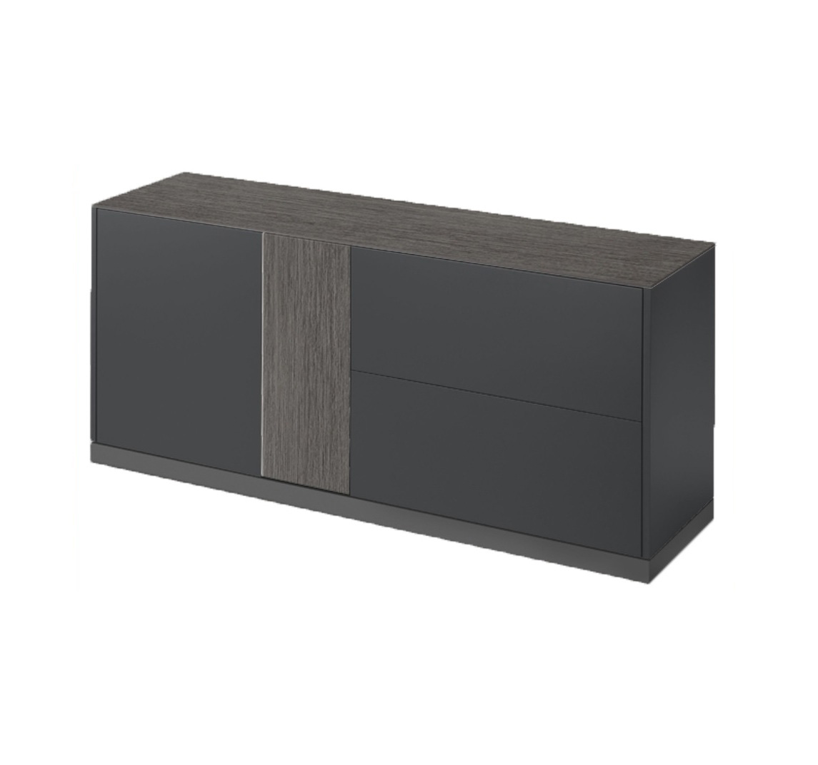 LINEA 185 LARGE SIDEBOARD, DARK GREY MATT LACQUERED BODY WITH DARK GREY OBSIDIAN TOP AND DOOR -0