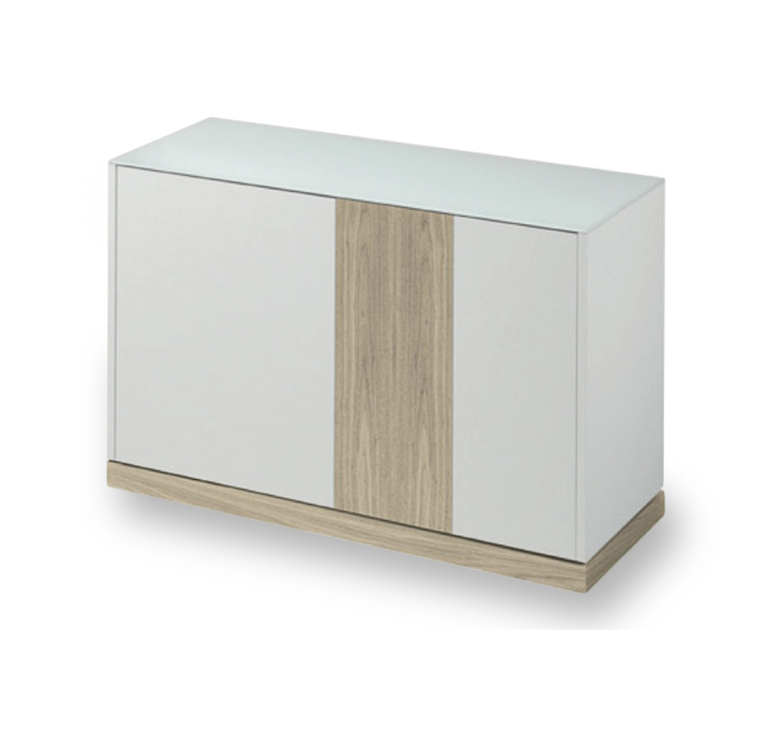 LINEA 125 SMALL SIDEBOARD, WHITE MATT LACQUERED BODY WITH WHITE ASHWOOD DOOR AND PLINTH -0