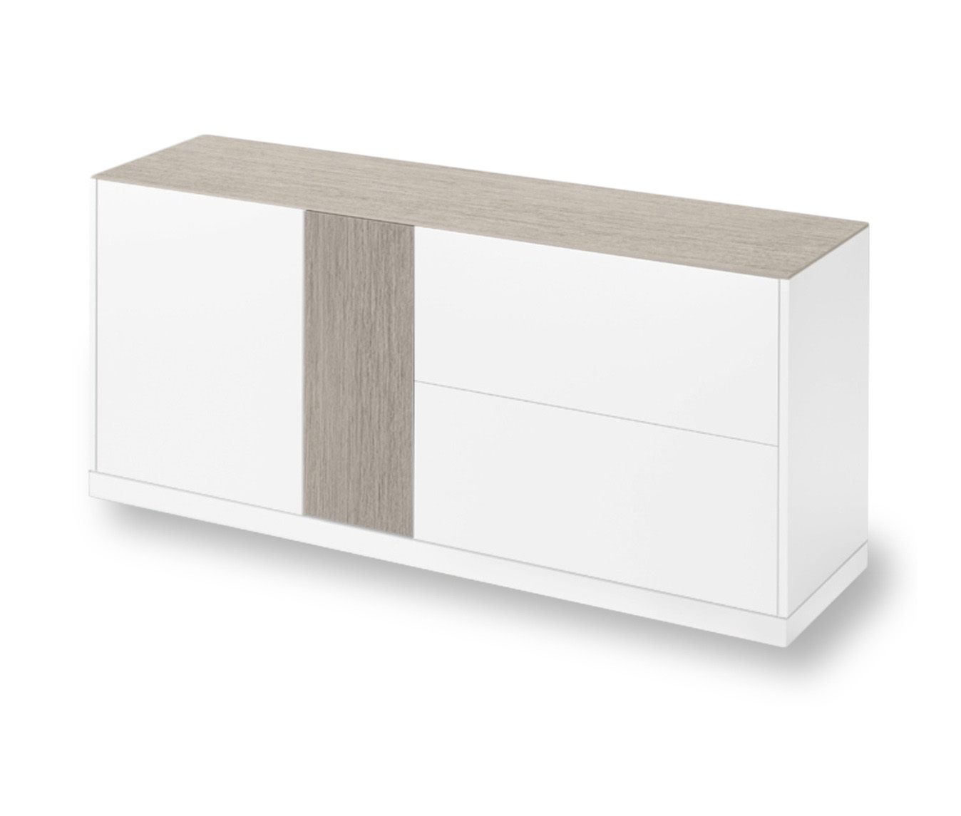 LINEA 185 LARGE SIDEBOARD, WHITE MATT LACQUERED BODY WITH LIGHT GREY OBSIDIAN CERAMIC TOP AND DOOR-0