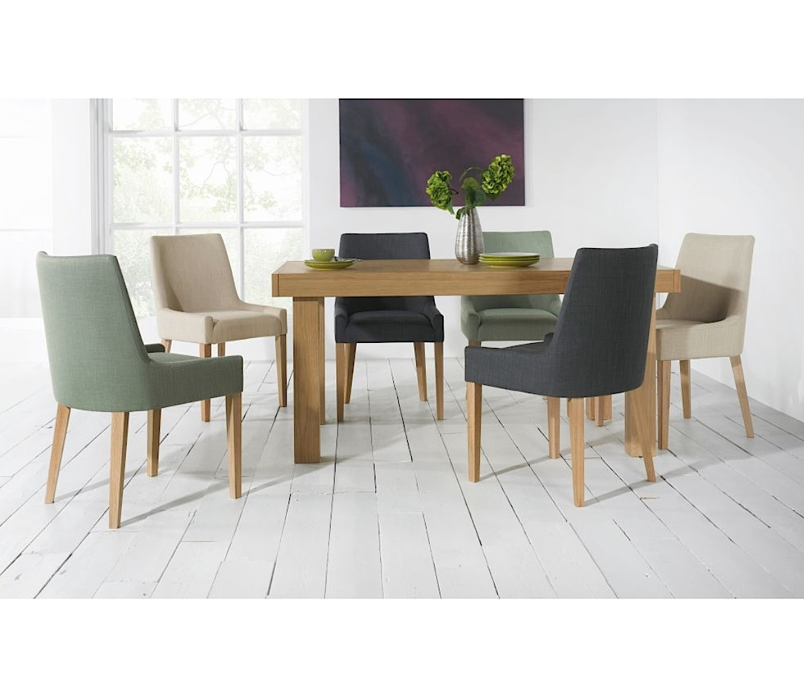 ALEX TEAL UPHOLSTERED DINING CHAIR WITH OAK LEGS-31607