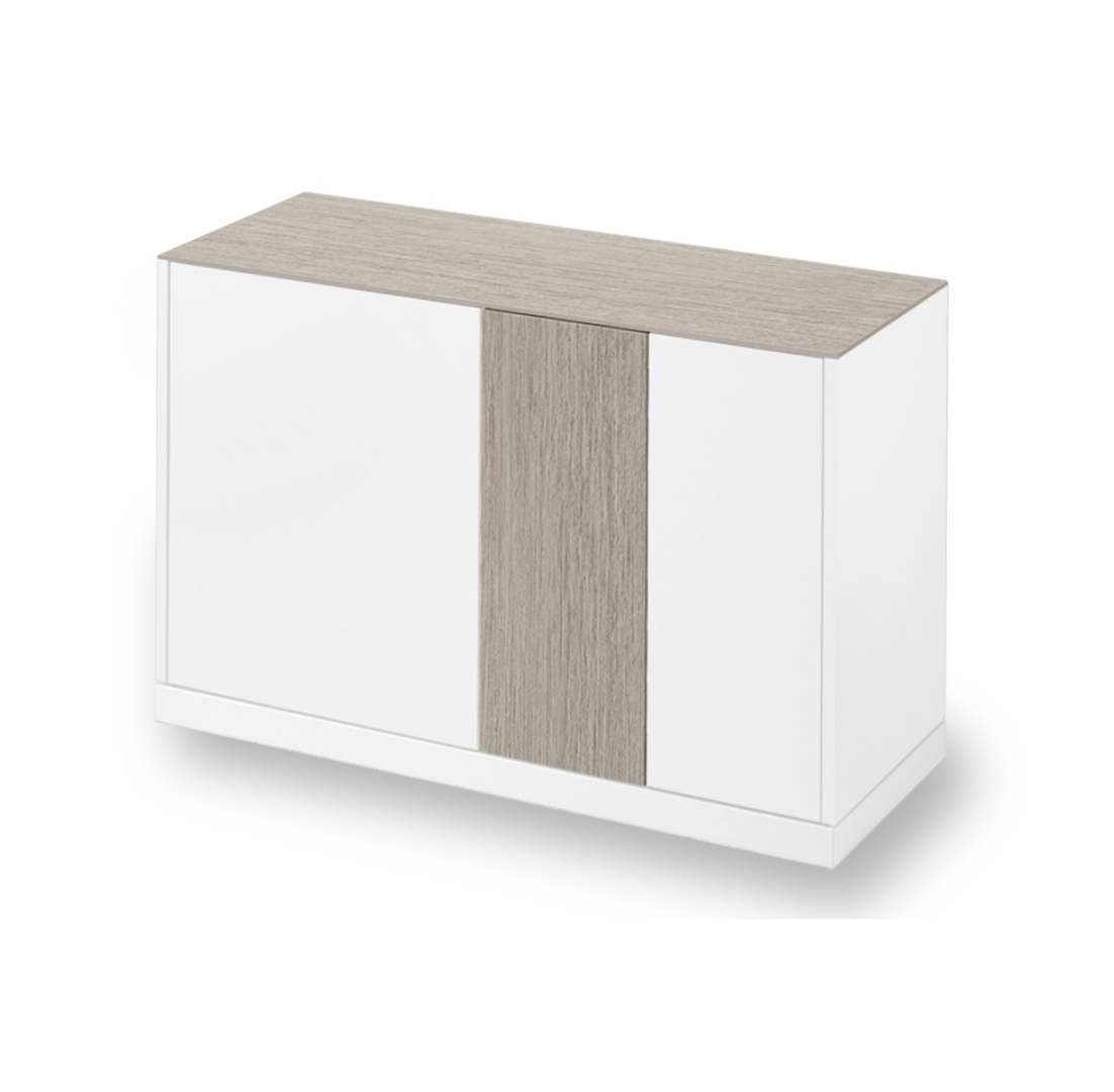 LINEA 125 SMALL SIDEBOARD, WHITE MATT LACQUERED BODY WITH LIGHT GREY OBSIDIAN CERAMIC TOP AND DOOR-0