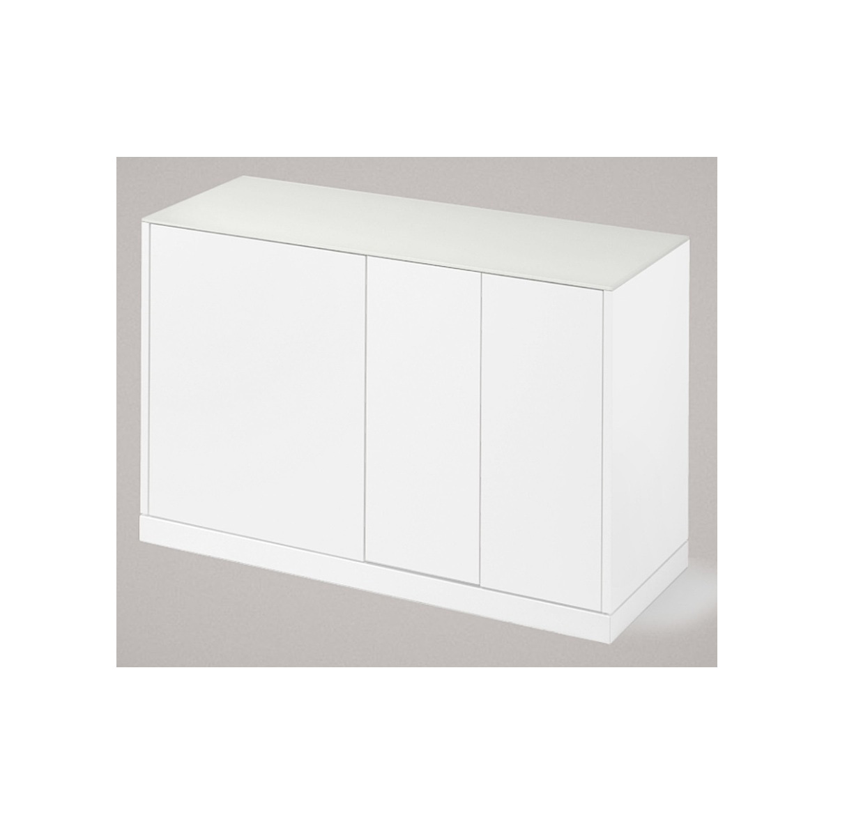 LINEA 125 SMALL SIDEBOARD, MATT LACQUERED BODY WITH WHITE ETCHED GLASS TOP-0
